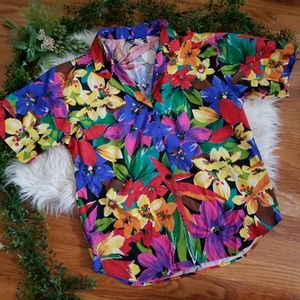 REQUIREMENTS hawaiian print button down top szS